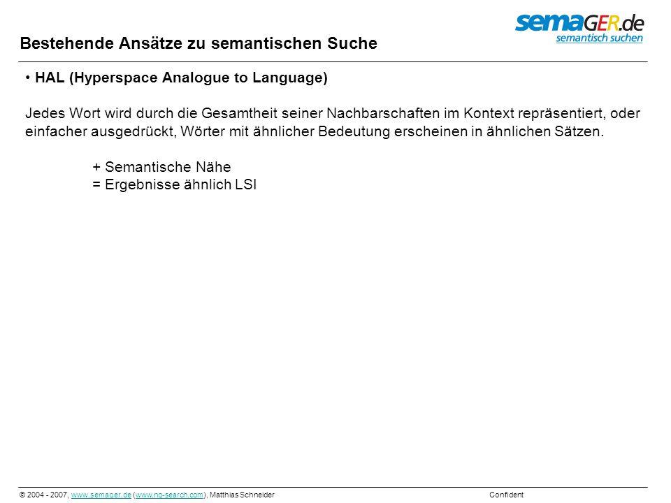 © 2004 - 2007, www.semager.de (www.ng-search.com), Matthias Schneider Confidentwww.semager.dewww.ng-search.com Nennen wir es einmal Neuronales routing durch PI-LSI erzeugtem Sprachraum oder kurz Neuronales routing oder lang Neuronales routingvia vorsortiert indexierteund inkrementel berechnete HAL & LSI erzeugte Sprachdatenbank PI-LSI= Predefined and Incremental LSI Predefined= vorsortiert Indexiert Im Gegensatz zur zufälligen Indexierung benutze ich zur Berechnung nur Dokumente von denen ich weiß, um was Sie handeln.