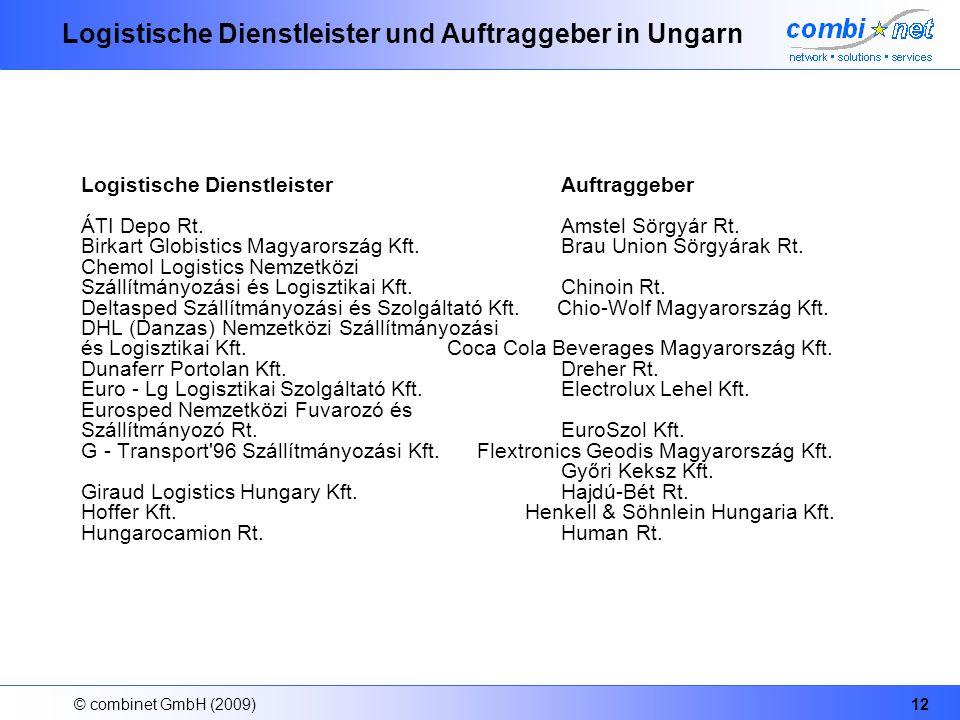 © combinet GmbH (2009)12 Logistische Dienstleister und Auftraggeber in Ungarn Logistische Dienstleister Auftraggeber ÁTI Depo Rt. Amstel Sörgyár Rt. B