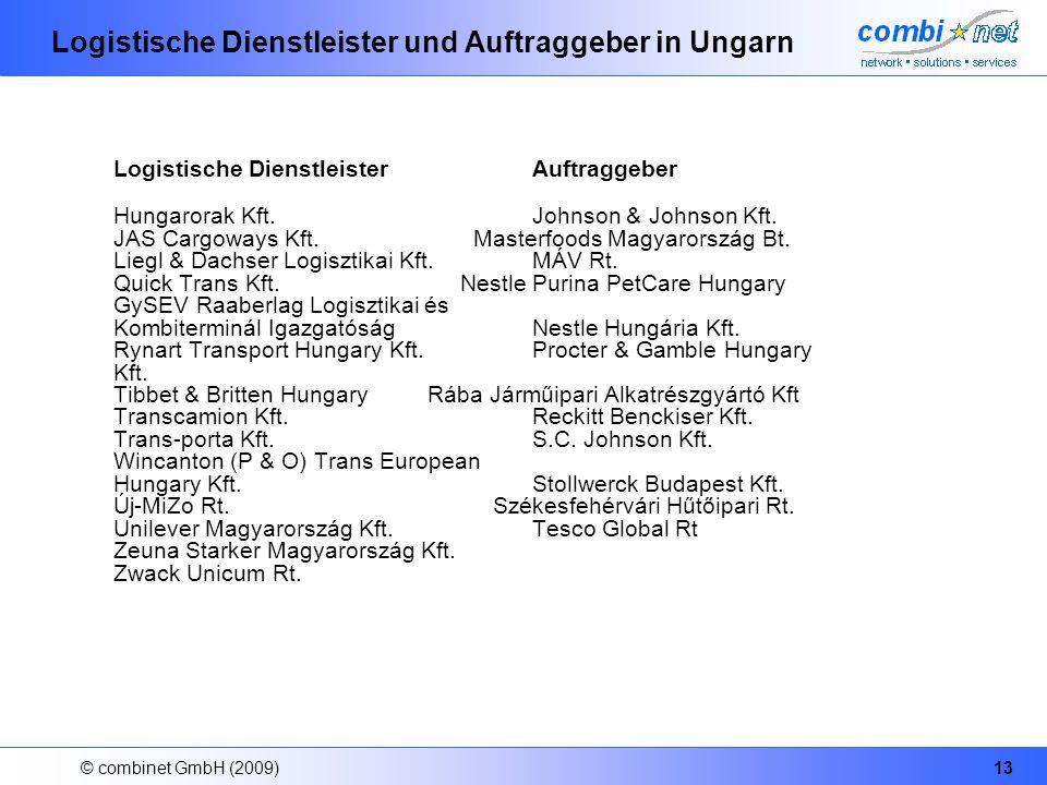 © combinet GmbH (2009)13 Logistische Dienstleister und Auftraggeber in Ungarn Logistische Dienstleister Auftraggeber Hungarorak Kft. Johnson & Johnson