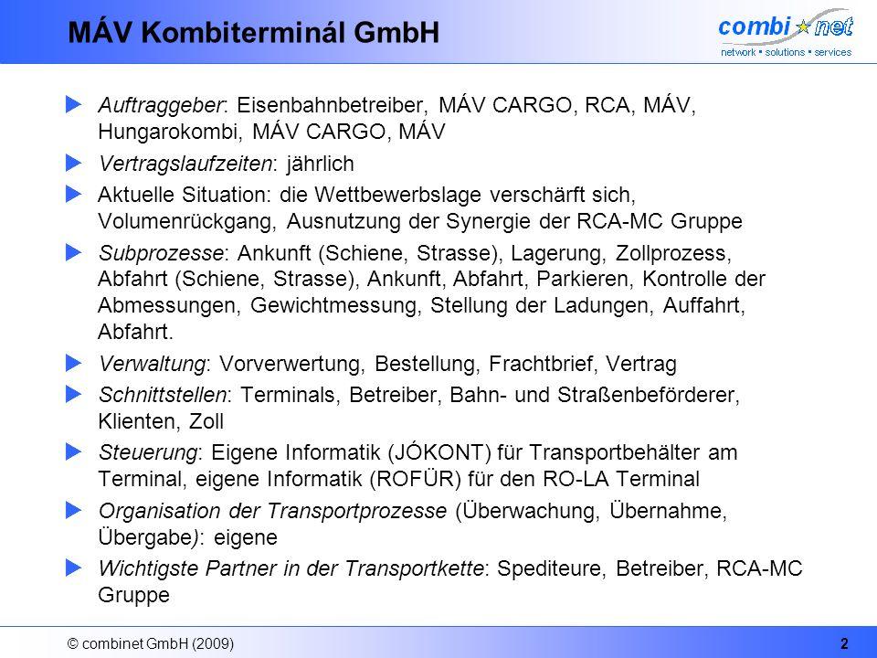 © combinet GmbH (2009)2 MÁV Kombiterminál GmbH Auftraggeber: Eisenbahnbetreiber, MÁV CARGO, RCA, MÁV, Hungarokombi, MÁV CARGO, MÁV Vertragslaufzeiten: