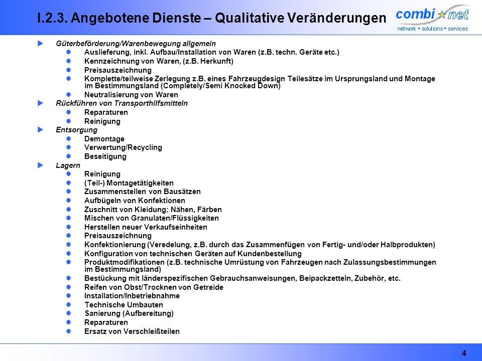 4 I.2.3. Angebotene Dienste – Qualitative Veränderungen Güterbeförderung/Warenbewegung allgemein Auslieferung, inkl. Aufbau/Installation von Waren (z.