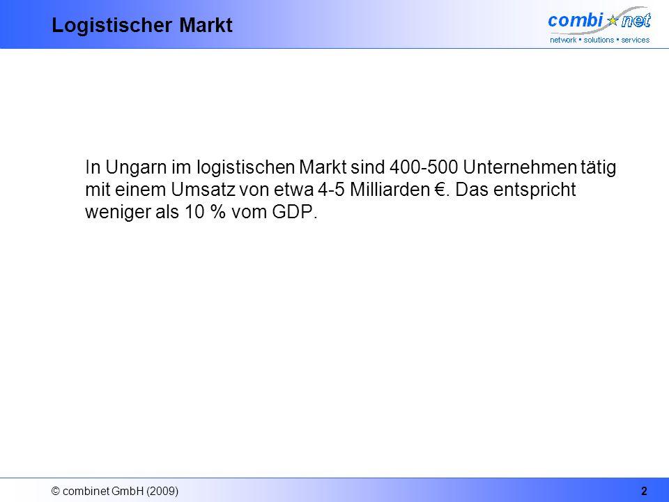 © combinet GmbH (2009)2 Logistischer Markt In Ungarn im logistischen Markt sind 400-500 Unternehmen tätig mit einem Umsatz von etwa 4-5 Milliarden.