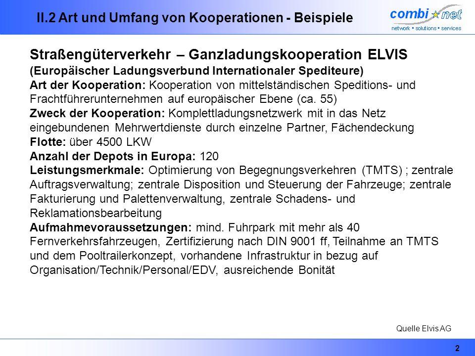 2 II.2 Art und Umfang von Kooperationen - Beispiele Straßengüterverkehr – Ganzladungskooperation ELVIS (Europäischer Ladungsverbund Internationaler Sp