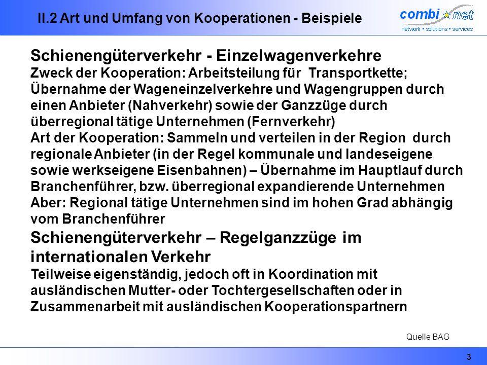 3 II.2 Art und Umfang von Kooperationen - Beispiele Schienengüterverkehr - Einzelwagenverkehre Zweck der Kooperation: Arbeitsteilung für Transportkett