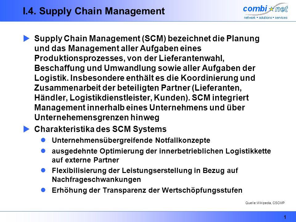 1 I.4. Supply Chain Management Supply Chain Management (SCM) bezeichnet die Planung und das Management aller Aufgaben eines Produktionsprozesses, von