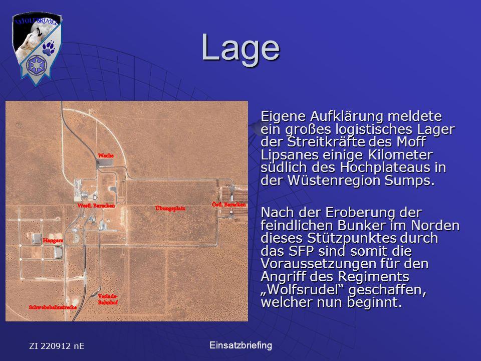 ZI 220912 nE Einsatzbriefing Lage Eigene Aufklärung meldete ein großes logistisches Lager der Streitkräfte des Moff Lipsanes einige Kilometer südlich des Hochplateaus in der Wüstenregion Sumps.