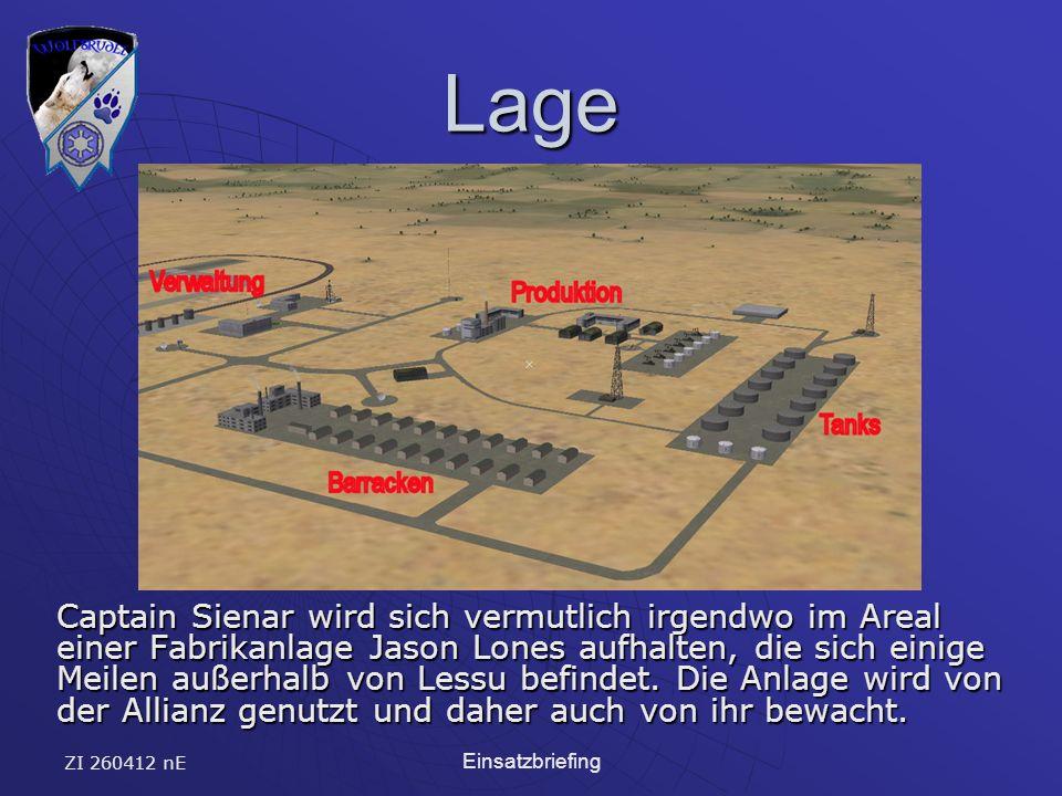 ZI 260412 nE Einsatzbriefing Lage Captain Sienar wird sich vermutlich irgendwo im Areal einer Fabrikanlage Jason Lones aufhalten, die sich einige Meilen außerhalb von Lessu befindet.