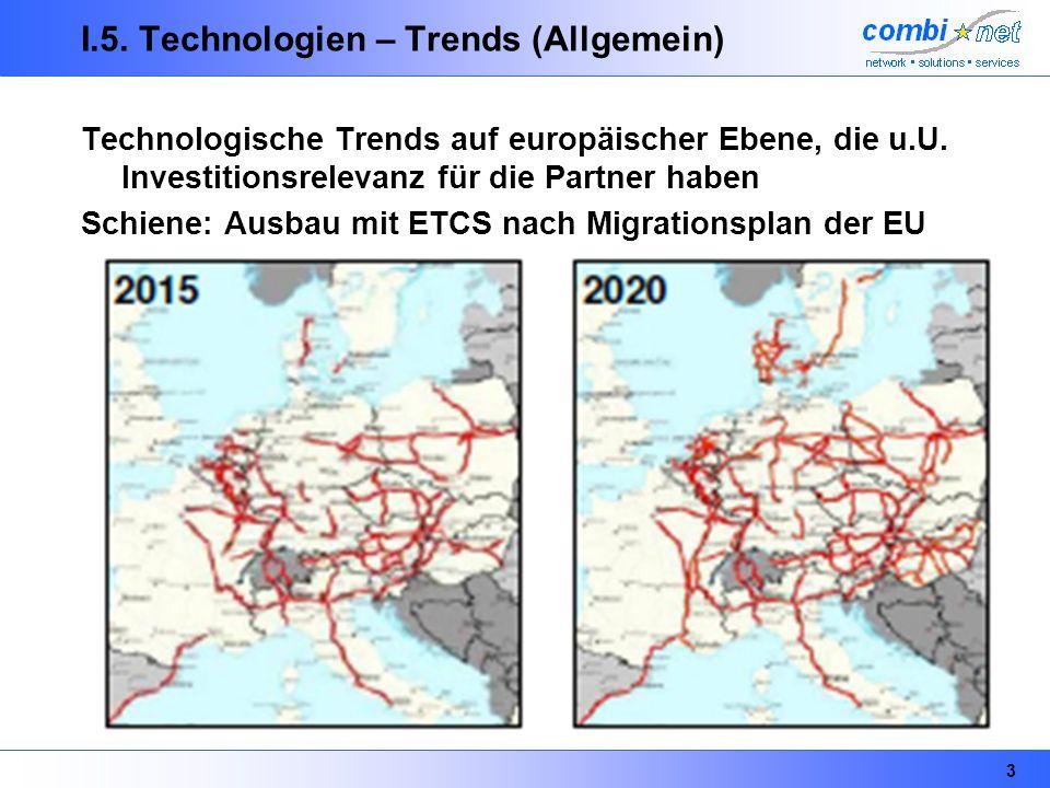 3 I.5. Technologien – Trends (Allgemein) Technologische Trends auf europäischer Ebene, die u.U. Investitionsrelevanz für die Partner haben Schiene: Au