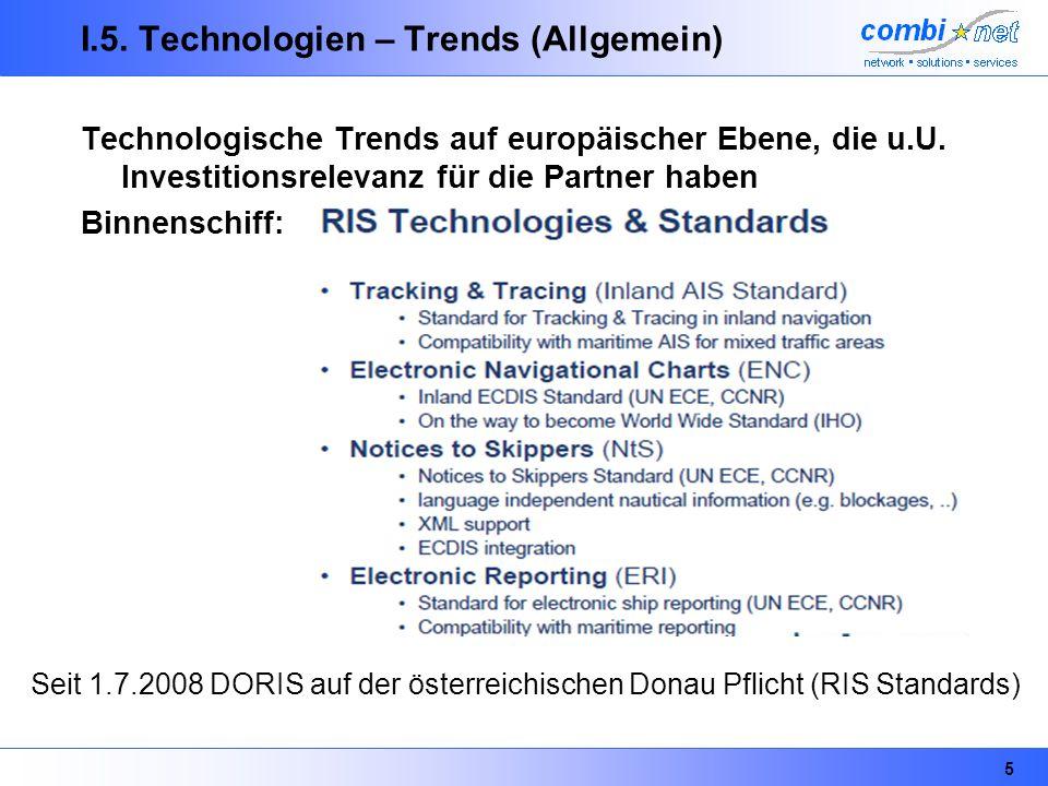 5 I.5. Technologien – Trends (Allgemein) Technologische Trends auf europäischer Ebene, die u.U. Investitionsrelevanz für die Partner haben Binnenschif