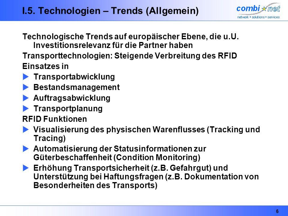 6 I.5. Technologien – Trends (Allgemein) Technologische Trends auf europäischer Ebene, die u.U. Investitionsrelevanz für die Partner haben Transportte