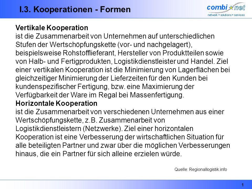 1 I.3. Kooperationen - Formen Vertikale Kooperation ist die Zusammenarbeit von Unternehmen auf unterschiedlichen Stufen der Wertschöpfungskette (vor-