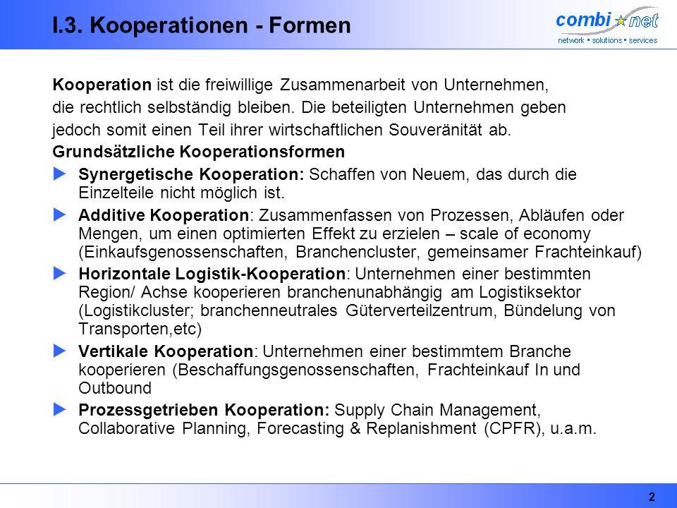 2 I.3. Kooperationen - Formen Kooperation ist die freiwillige Zusammenarbeit von Unternehmen, die rechtlich selbständig bleiben. Die beteiligten Unter