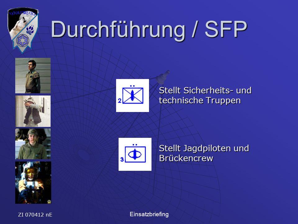 ZI 070412 nE Einsatzbriefing Durchführung / SFP Stellt Sicherheits- und technische Truppen Stellt Jagdpiloten und Brückencrew