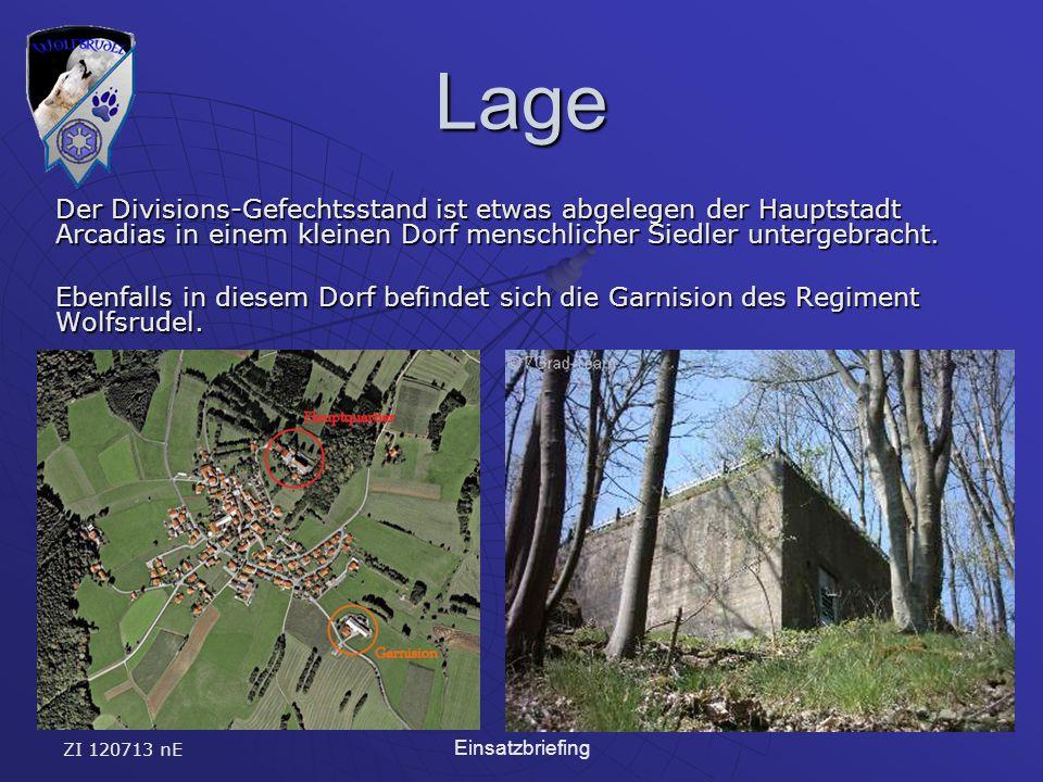 ZI 120713 nE Einsatzbriefing Lage Der Divisions-Gefechtsstand ist etwas abgelegen der Hauptstadt Arcadias in einem kleinen Dorf menschlicher Siedler untergebracht.