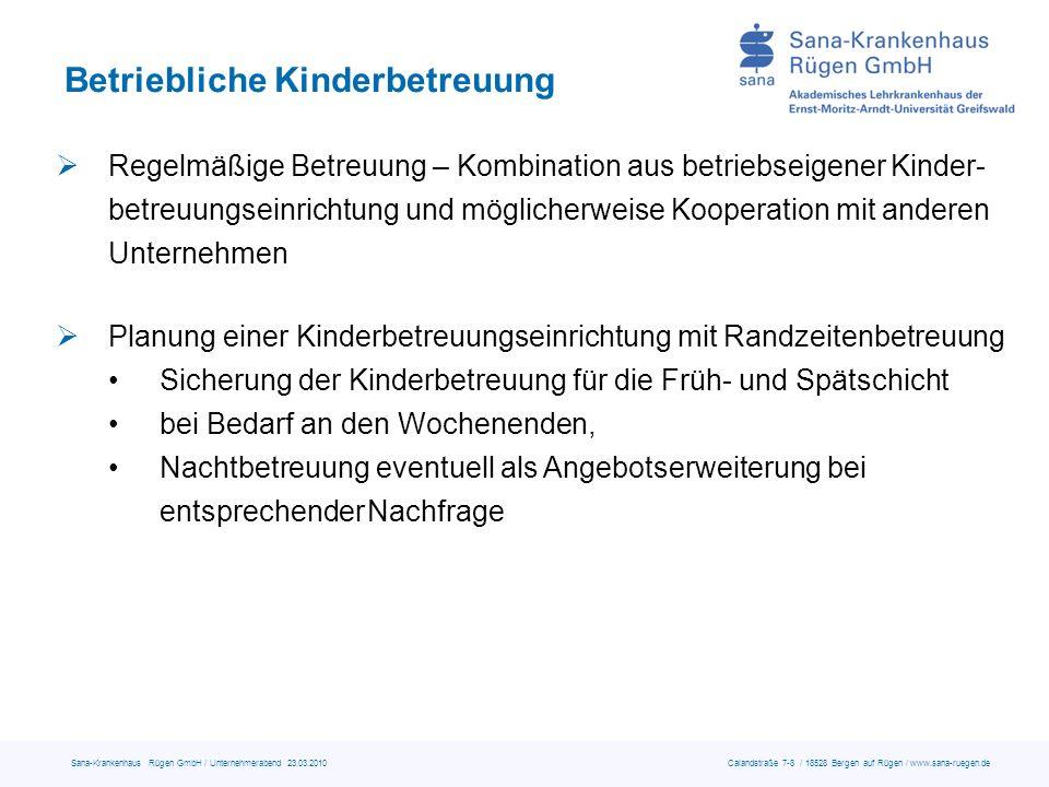 Sana-Krankenhaus Rügen GmbH / Unternehmerabend 23.03.2010 Calandstraße 7-8 / 18528 Bergen auf Rügen / www.sana-ruegen.de Betriebliche Kinderbetreuung Regelmäßige Betreuung – Kombination aus betriebseigener Kinder- betreuungseinrichtung und möglicherweise Kooperation mit anderen Unternehmen Planung einer Kinderbetreuungseinrichtung mit Randzeitenbetreuung Sicherung der Kinderbetreuung für die Früh- und Spätschicht bei Bedarf an den Wochenenden, Nachtbetreuung eventuell als Angebotserweiterung bei entsprechenderNachfrage