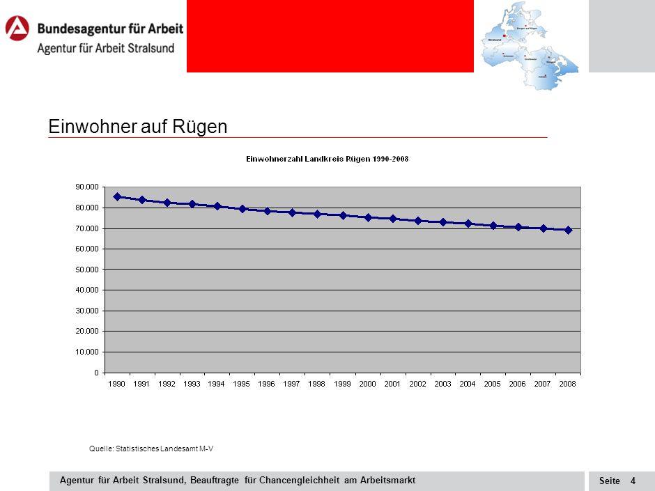 Seite Agentur für Arbeit Stralsund, Beauftragte für Chancengleichheit am Arbeitsmarkt 3 Beschäftigung auf Rügen Quelle: Statistikangebot der BA