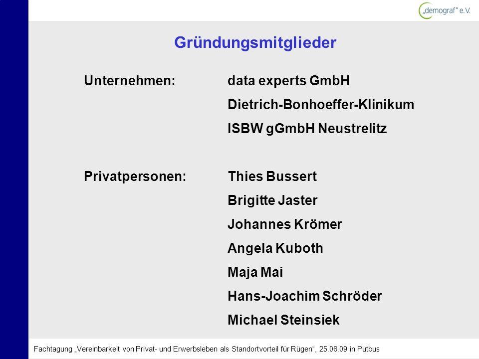 Gründungsmitglieder Unternehmen:data experts GmbH Dietrich-Bonhoeffer-Klinikum ISBW gGmbH Neustrelitz Privatpersonen:Thies Bussert Brigitte Jaster Joh