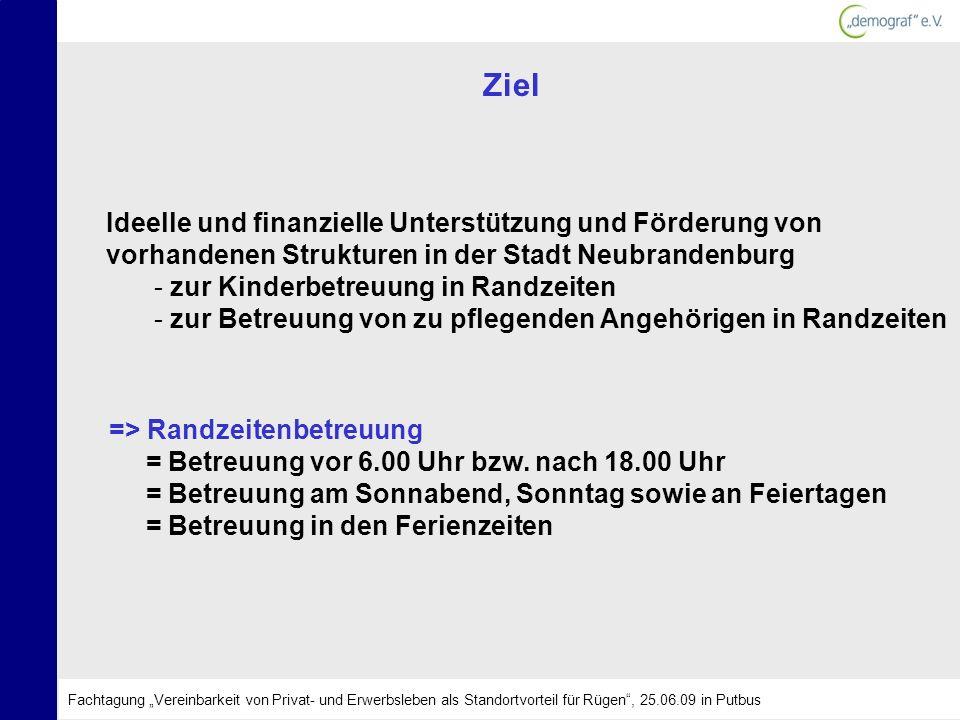 Ziel Ideelle und finanzielle Unterstützung und Förderung von vorhandenen Strukturen in der Stadt Neubrandenburg - zur Kinderbetreuung in Randzeiten -