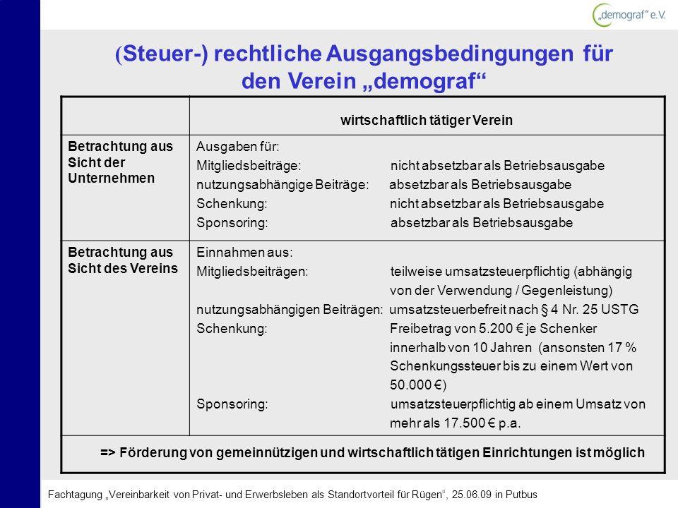 ( Steuer-) rechtliche Ausgangsbedingungen für den Verein demograf wirtschaftlich tätiger Verein Betrachtung aus Sicht der Unternehmen Ausgaben für: Mi