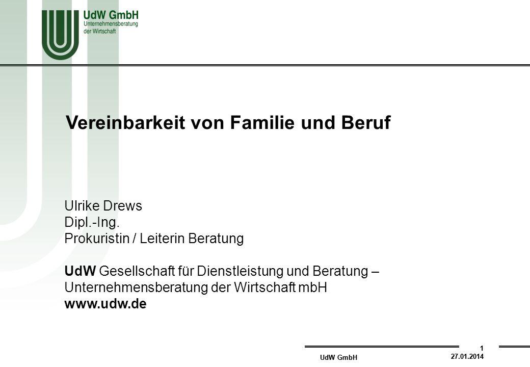 UdW GmbH 1 27.01.2014 UdW GmbH 1 27.01.2014 Ulrike Drews Dipl.-Ing.