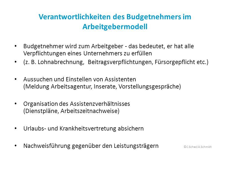 Verantwortlichkeiten des Budgetnehmers im Arbeitgebermodell Budgetnehmer wird zum Arbeitgeber - das bedeutet, er hat alle Verpflichtungen eines Untern