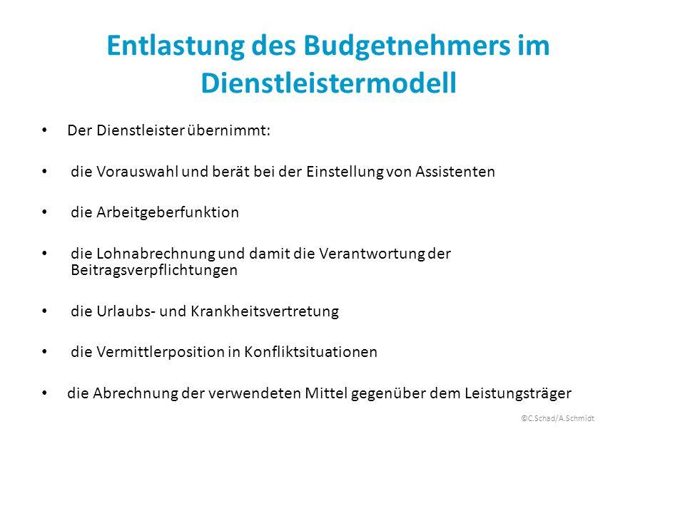 Entlastung des Budgetnehmers im Dienstleistermodell Der Dienstleister übernimmt: die Vorauswahl und berät bei der Einstellung von Assistenten die Arbe