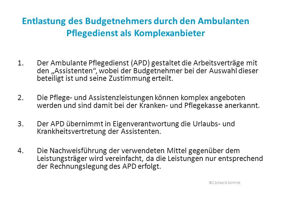 Entlastung des Budgetnehmers durch den Ambulanten Pflegedienst als Komplexanbieter 1.Der Ambulante Pflegedienst (APD) gestaltet die Arbeitsverträge mi