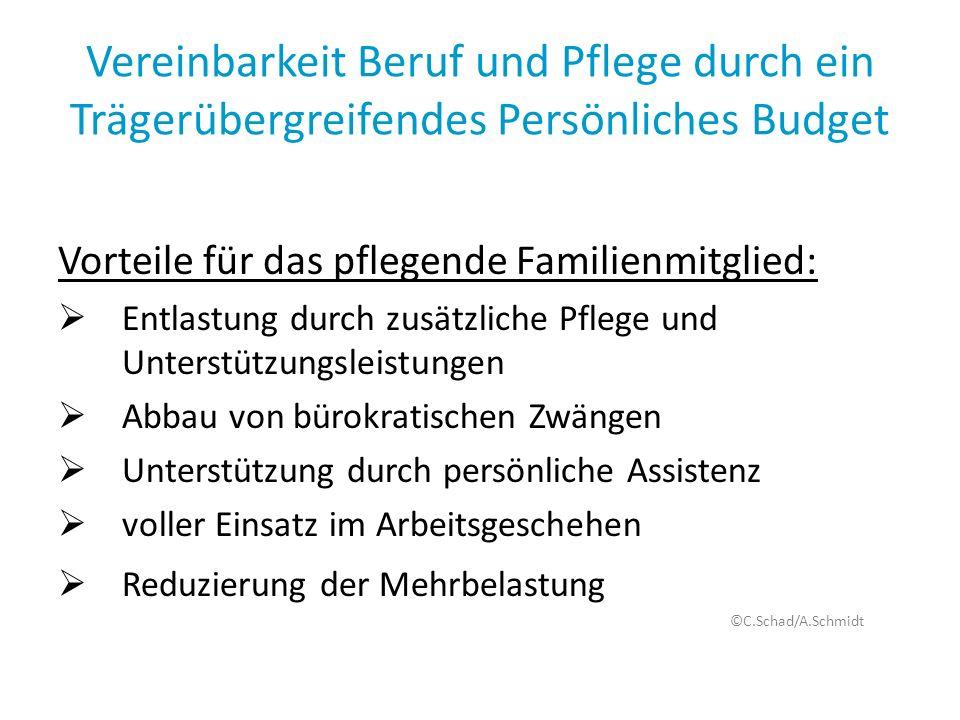 Vereinbarkeit Beruf und Pflege durch ein Trägerübergreifendes Persönliches Budget Vorteile für das pflegende Familienmitglied: Entlastung durch zusätz