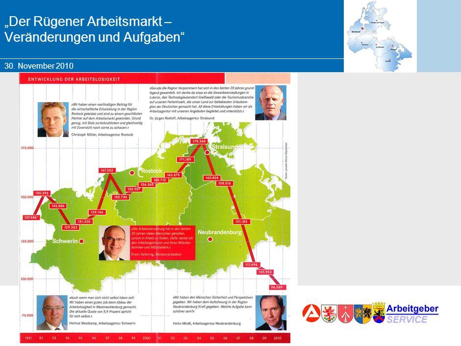 30. November 2010 Marketing – Chancen und Herausforderungen für die BA Der Rügener Arbeitsmarkt – Veränderungen und Aufgaben