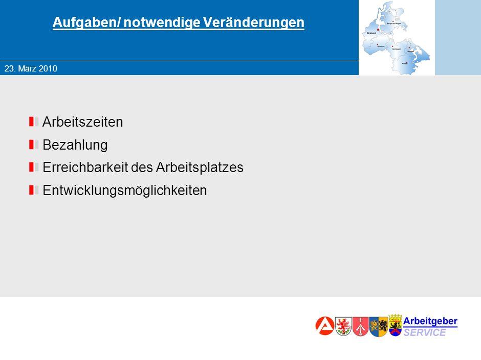23. März 2010 Marketing – Chancen und Herausforderungen für die BA Der Rügener Arbeitsmarkt – Veränderungen und Aufgaben Besonderheiten bei zu besetze