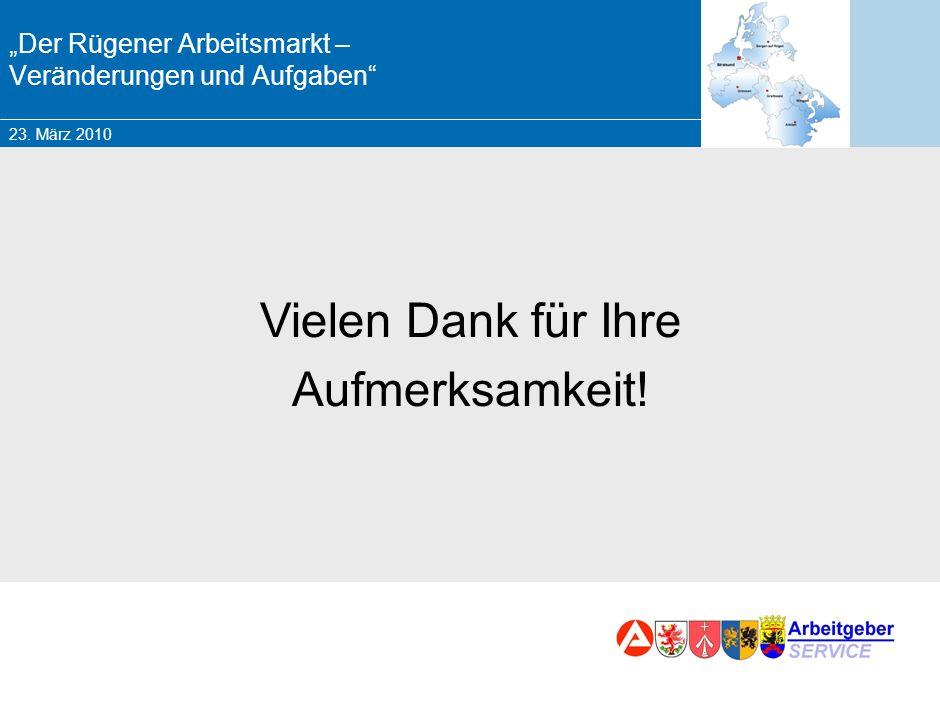 23. März 2010 Marketing – Chancen und Herausforderungen für die BA Zusammenfassung Rügener Arbeitsmarkt hat sich verändert Nachfrage an Fachkräften De