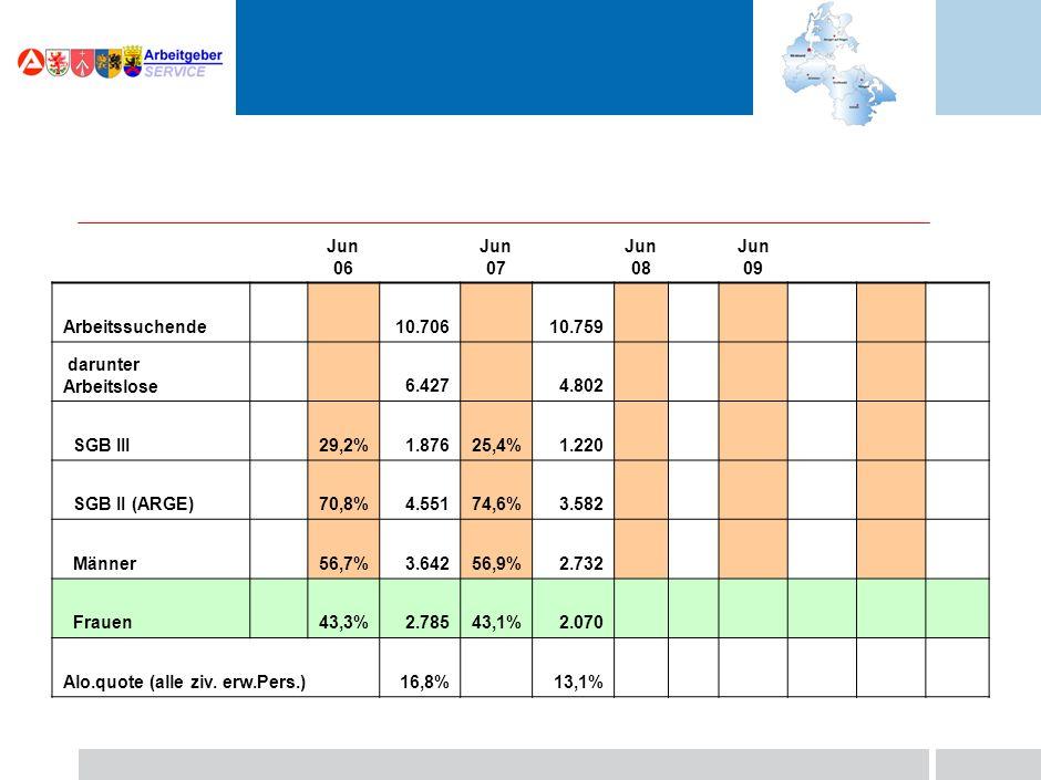 Jun 06 Jun 07 Jun 08 Jun 09 Arbeitssuchende 10.706 darunter Arbeitslose 6.427 SGB III 29,2%1.876 SGB II (ARGE) 70,8%4.551 Männer 56,7%3.642 Frauen 43,3%2.785 Alo.quote (alle ziv.