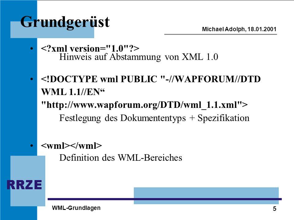 6 Michael Adolph, 18.01.2001 WML-Grundlagen Aufbau einer Seite Hello World!...