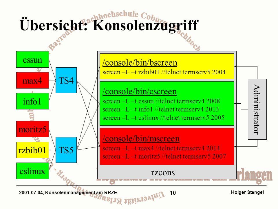 10 Holger Stengel 2001-07-04, Konsolenmanagement am RRZE Übersicht: Konsolenzugriff cssun max4 info1 moritz5 rzbib01 cslinux TS4 TS5 rzcons /console/bin/bscreen screen –L –t rzbib01 //telnet termserv5 2004 /console/bin/cscreen screen –L –t cssun //telnet termserv4 2008 screen –L –t info1 //telnet termserv4 2013 screen –L –t cslinux //telnet termserv5 2005 /console/bin/mscreen screen –L –t max4 //telnet termserv4 2014 screen –L –t moritz5 //telnet termserv5 2007 Administrator