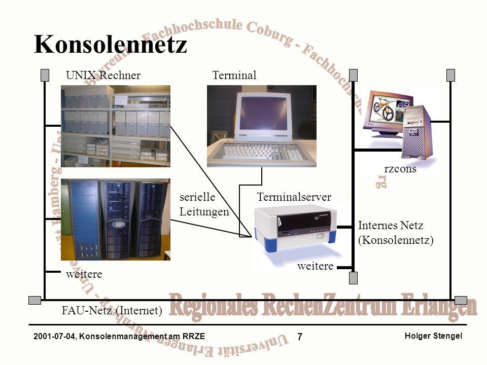 7 Holger Stengel 2001-07-04, Konsolenmanagement am RRZE Konsolennetz UNIX Rechner FAU-Netz (Internet) serielle Leitungen Terminalserver weitere rzcons Internes Netz (Konsolennetz) Terminal