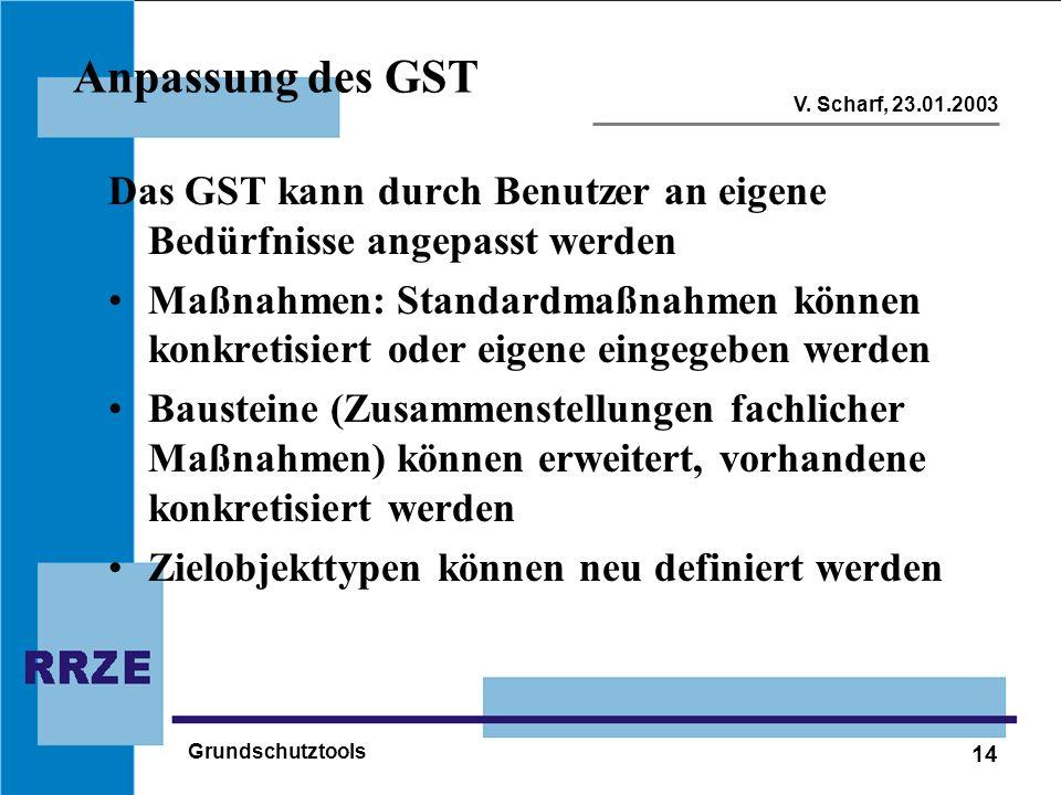 14 V. Scharf, 23.01.2003 Grundschutztools Anpassung des GST Das GST kann durch Benutzer an eigene Bedürfnisse angepasst werden Maßnahmen: Standardmaßn