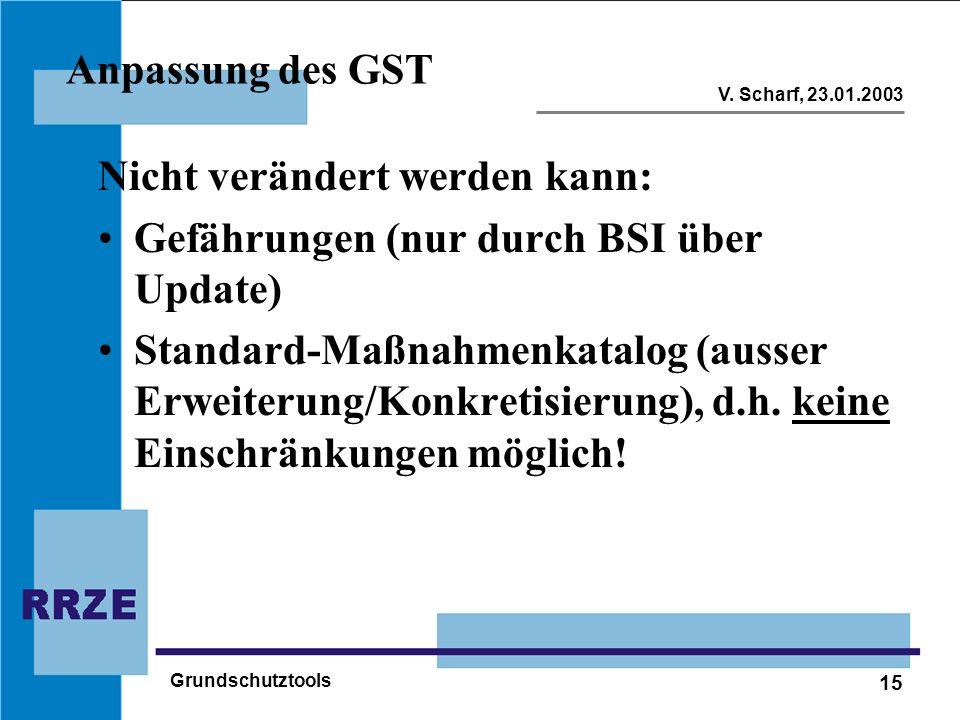 15 V. Scharf, 23.01.2003 Grundschutztools Anpassung des GST Nicht verändert werden kann: Gefährungen (nur durch BSI über Update) Standard-Maßnahmenkat
