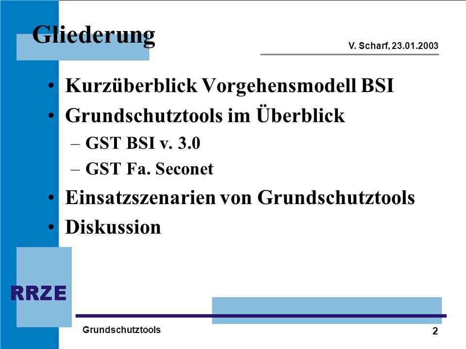 2 V. Scharf, 23.01.2003 Grundschutztools Gliederung Kurzüberblick Vorgehensmodell BSI Grundschutztools im Überblick –GST BSI v. 3.0 –GST Fa. Seconet E
