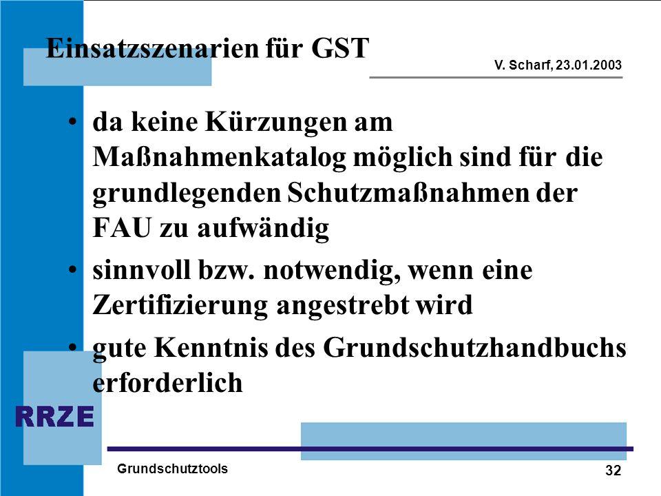 32 V. Scharf, 23.01.2003 Grundschutztools Einsatzszenarien für GST da keine Kürzungen am Maßnahmenkatalog möglich sind für die grundlegenden Schutzmaß