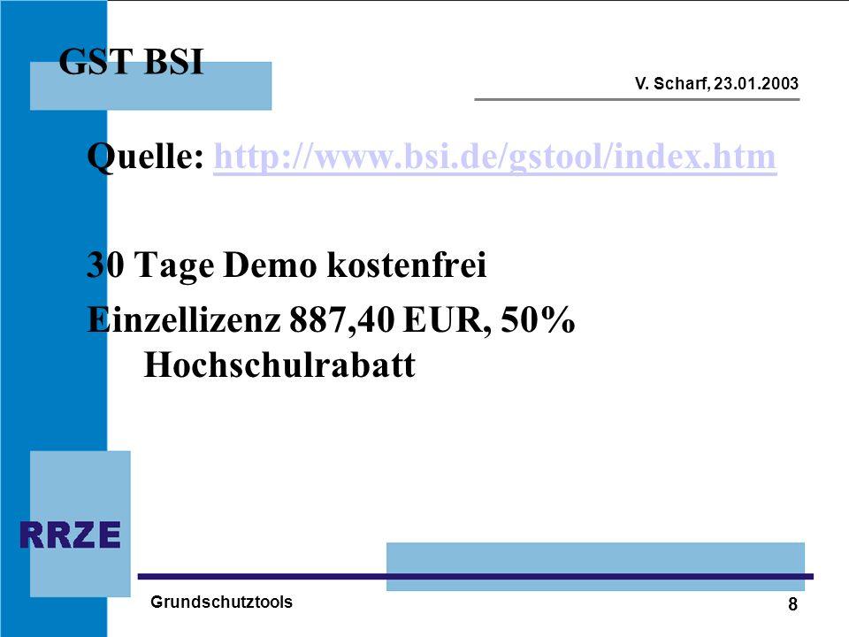 8 V. Scharf, 23.01.2003 Grundschutztools GST BSI Quelle: http://www.bsi.de/gstool/index.htmhttp://www.bsi.de/gstool/index.htm 30 Tage Demo kostenfrei