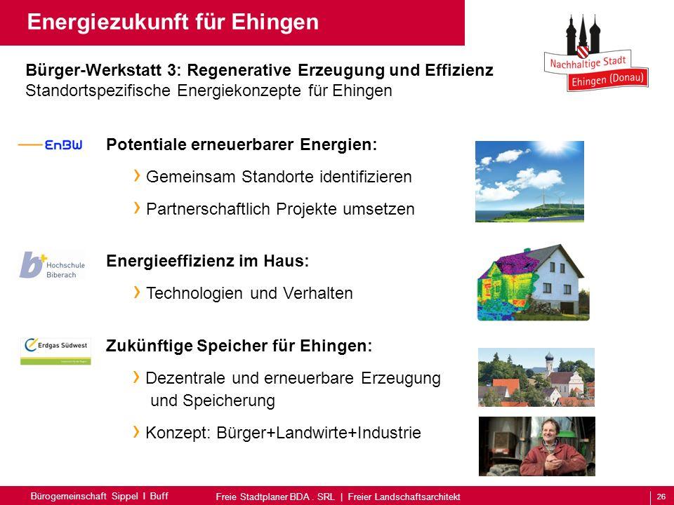 26 Bürogemeinschaft Sippel I Buff Freie Stadtplaner BDA. SRL | Freier Landschaftsarchitekt Energiezukunft für Ehingen Zukünftige Speicher für Ehingen: