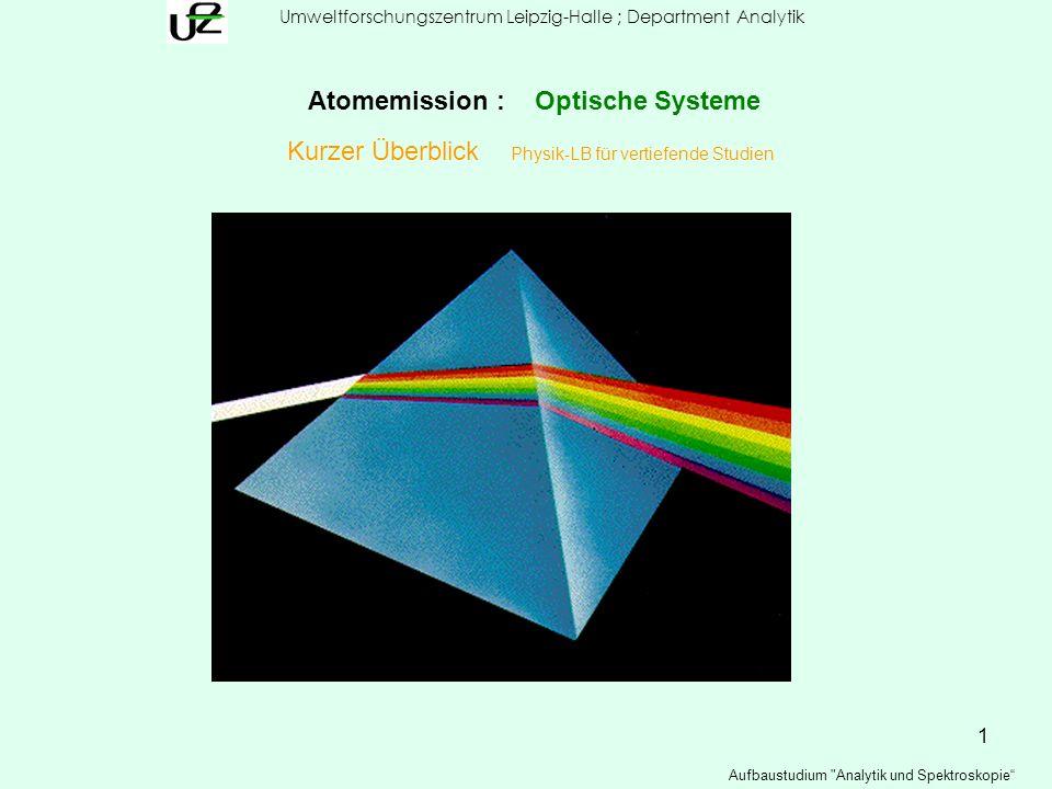 12 Umweltforschungszentrum Leipzig-Halle ; Department Analytik Aufbaustudium Analytik und Spektroskopie Atomemission : Optische Systeme Spektralapparate