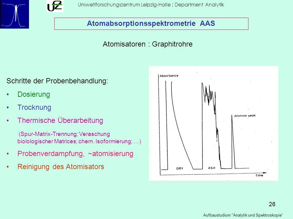 26 Umweltforschungszentrum Leipzig-Halle ; Department Analytik Aufbaustudium