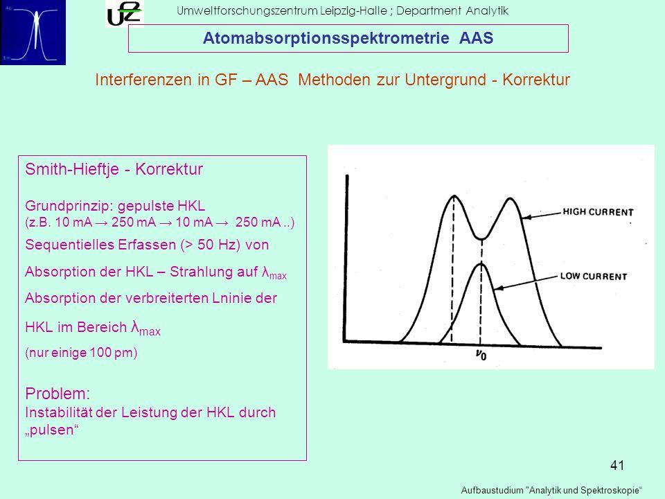 41 Umweltforschungszentrum Leipzig-Halle ; Department Analytik Aufbaustudium