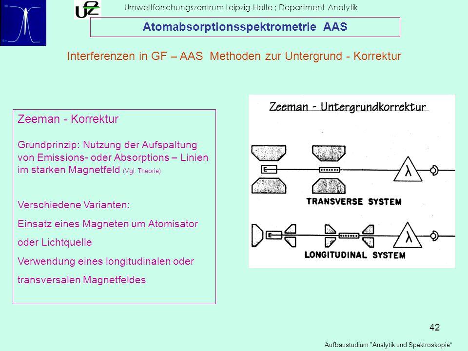 42 Umweltforschungszentrum Leipzig-Halle ; Department Analytik Aufbaustudium