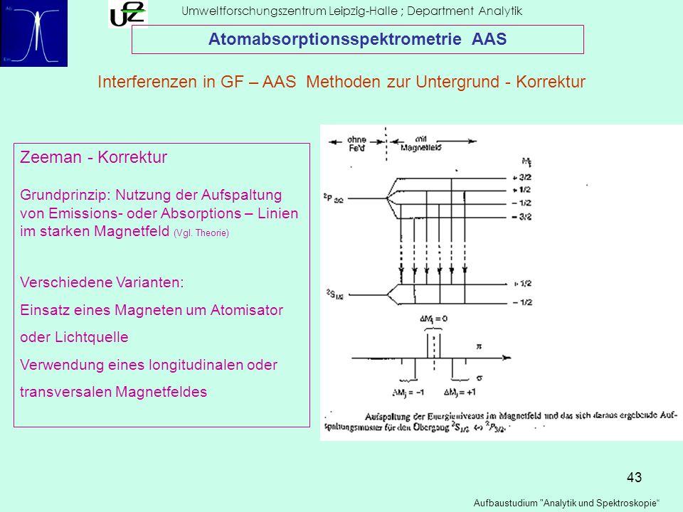 43 Umweltforschungszentrum Leipzig-Halle ; Department Analytik Aufbaustudium