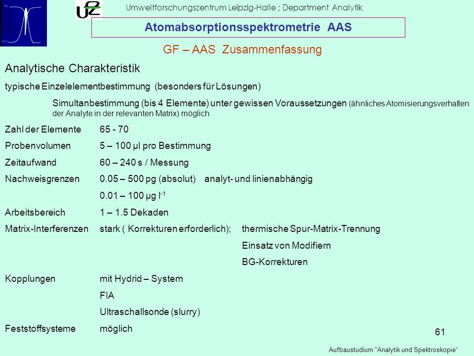 61 Umweltforschungszentrum Leipzig-Halle ; Department Analytik Aufbaustudium