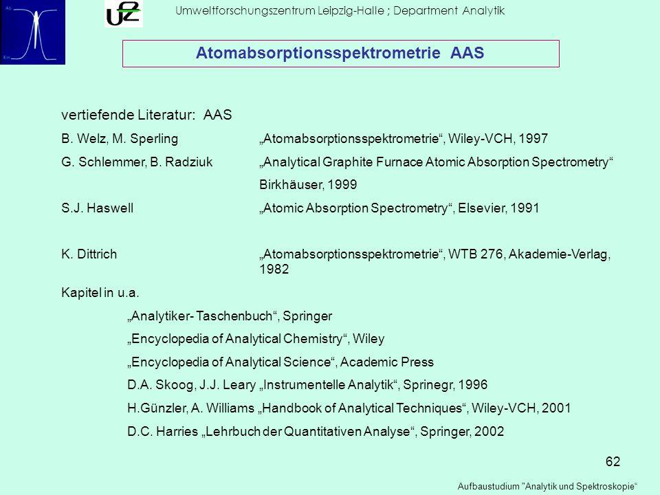 62 Umweltforschungszentrum Leipzig-Halle ; Department Analytik Aufbaustudium