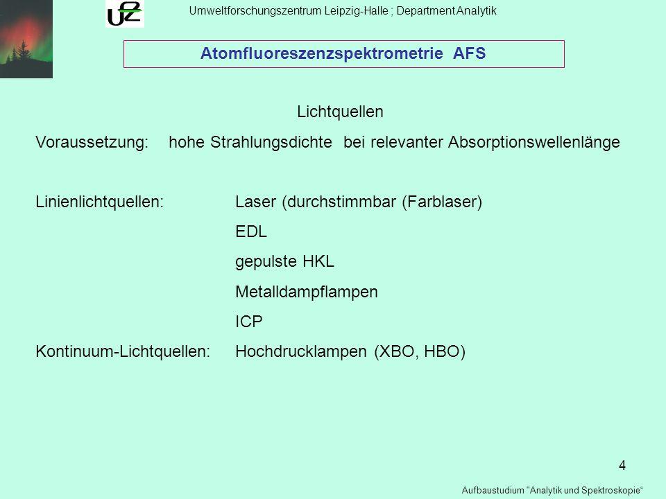 5 Umweltforschungszentrum Leipzig-Halle ; Department Analytik Aufbaustudium Analytik und Spektroskopie Atomfluoreszenzspektrometrie AFS Atomisatoren Voraussetzung:hohe Atomisierungsrate niedriger spektraler Untergrund geringe Fluoreszenzlöschung hohe Verweilzeit der Atome (Ionen) in Absorptionsraum TechnikenFlamme :H 2 /O 2 ; H 2 /Ar/Luft; H 2 Ar/O 2 ; H 2 /Luft Graphitstab Graphitrohr ICP MIP