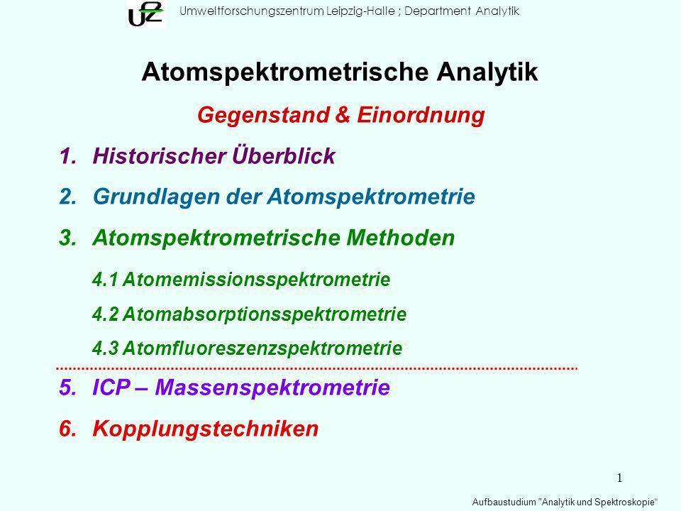 2 Umweltforschungszentrum Leipzig-Halle; Department Analytik Aufbaustudium Analytik und Spektroskopie Atomspektrometrie Gegenstand & Einordnung Die alten Griechen hatten bereits verschiedene Vorstellungen von Atombau und Elemente.